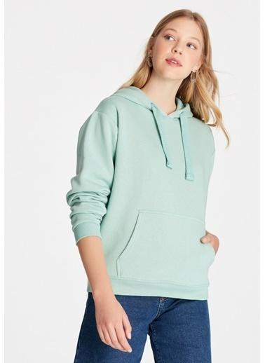 Mavi Kapüşonlu Sweatshirt Yeşil
